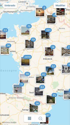 la fonctionnalité carte d'instagram permet de voir toutes les lieux, territoires où les photos ont été prises.